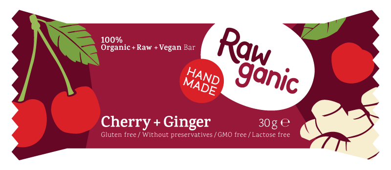 Cherry with some ginger in a vegan, raw and organic dessert bar