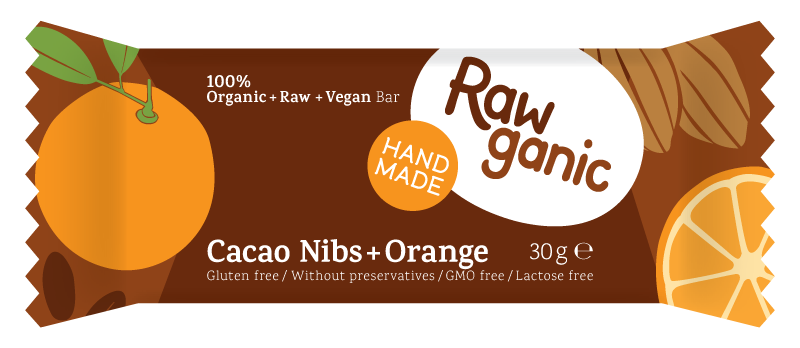 Cacao nibs and some orange in a vegan, raw and organic dessert bar